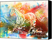 White Horse Painting Canvas Prints - Freedom Canvas Print by Art by Carol May