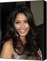 Wavy Hair Canvas Prints - Freida Pinto At Arrivals For Arrivals - Canvas Print by Everett