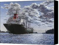 Ships Painting Canvas Prints - Freighter Inviken Canvas Print by Richard De Wolfe
