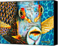 Modern Art Tapestries - Textiles Canvas Prints - French Angelfish Face Canvas Print by Daniel Jean-Baptiste