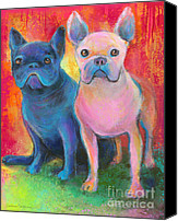 Austin Mixed Media Canvas Prints - French Bulldog dogs white and black painting Canvas Print by Svetlana Novikova