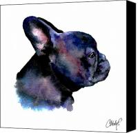 French Bulldog Canvas Prints - French Bulldog Portrait Canvas Print by Christy  Freeman