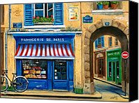 Shop Painting Canvas Prints - French Cheese Shop Canvas Print by Marilyn Dunlap