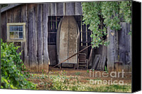 Old Wood Building Canvas Prints - French Countryside Canvas Print by Joan Carroll
