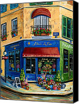 Flower Pots Canvas Prints - French Flower Shop Canvas Print by Marilyn Dunlap