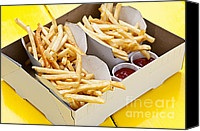 Away Canvas Prints - French fries in box Canvas Print by Elena Elisseeva