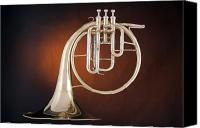 Brass Band Canvas Prints - French Horn Antique Isolated On Gold Canvas Print by M K  Miller