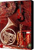 Ribbons Canvas Prints - French horn Christmas still life Canvas Print by Garry Gay