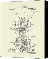 Antique Drawings Canvas Prints - French Horn Musical Instrument 1914 Patent Canvas Print by Prior Art Design