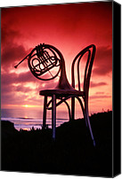 Brass Canvas Prints - French horn on chair Canvas Print by Garry Gay