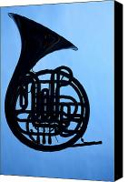 Brass Band Canvas Prints - French Horn Silhouette on Blue Canvas Print by M K  Miller