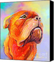 Austin Mixed Media Canvas Prints - French Mastiff Bordeaux dog painting print Canvas Print by Svetlana Novikova