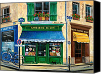 Shop Painting Canvas Prints - French Pastry Shop Canvas Print by Marilyn Dunlap