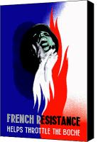 United States Mixed Media Canvas Prints - French Resistance Helps Throttle The Boche Canvas Print by War Is Hell Store