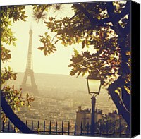 Railing Canvas Prints - French Romance Canvas Print by by Smaranda Madalina Cheregi