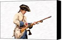 American Revolution Canvas Prints - French Soldier Reloading Musket Canvas Print by Randy Steele