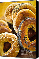 Bread Canvas Prints - Fresh bagels Canvas Print by Elena Elisseeva