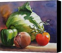 Food Painting Canvas Prints - Fresh Vegetables Canvas Print by Sue Zimmermann