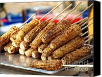 Barbecue Canvas Prints - Freshly Grilled Corn Cobs Canvas Print by Yali Shi