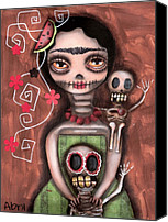 Sugar Skull Painting Canvas Prints - Frida Day of the Dead Canvas Print by  Abril Andrade Griffith