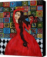 Acrylic Canvas Prints - Frida Kahlo Flamenco Dancing  Canvas Print by Rain Ririn
