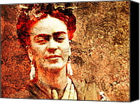 Gold Foil Canvas Prints - Frida Kahlo Canvas Print by Juan Jose Espinoza
