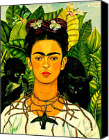 Women Canvas Prints - Frida Kahlo Self Portrait With Thorn Necklace and Hummingbird Canvas Print by Pg Reproductions