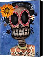 Halloween Painting Canvas Prints - Frida Muerta Canvas Print by  Abril Andrade Griffith