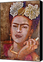 Handmade Paper Canvas Prints - Frida Smoking Canvas Print by Juan Jose Espinoza
