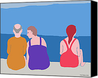 Beach Scenes Digital Art Canvas Prints - Friends on Beach Canvas Print by Fred Jinkins
