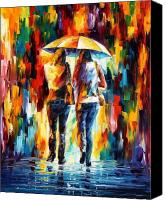 Afremov Canvas Prints - Friends Under The Rain Canvas Print by Leonid Afremov