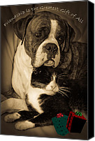 Buddies Canvas Prints - Friendship is the Greatest Gift of All Greeting Canvas Print by DigiArt Diaries by Vicky Browning