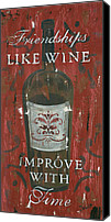 Inspirational Painting Canvas Prints - Friendships Like Wine Canvas Print by Debbie DeWitt