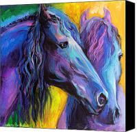 Horse Posters Canvas Prints - Friesian horses painting Canvas Print by Svetlana Novikova