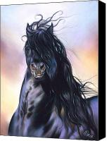 Animal Pastels Canvas Prints - Friesian spirit Canvas Print by Elena Kolotusha