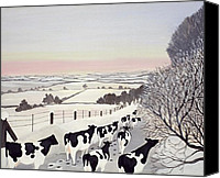Snowy Trees Painting Canvas Prints - Friesians in Winter Canvas Print by Maggie Rowe