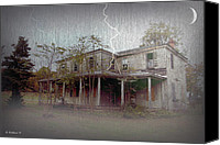Haunted House Canvas Prints - Frightening Lightning Canvas Print by Brian Wallace