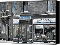 Quebec Painting Canvas Prints - Friperie Point Couture Pte St. Charles Canvas Print by Reb Frost