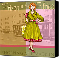 Olive Mixed Media Canvas Prints - Frisco in the Fifties Shopping at I Magnin Canvas Print by Cindy Garber Iverson