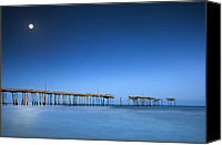 Frisco Canvas Prints - Frisco Pier Cape Hatteras Outer Banks NC - Crossing Over Canvas Print by Dave Allen