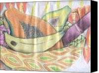Fruits Drawings Canvas Prints - Friuts Canvas Print by Daniel Kabugu