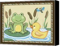 Crib Painting Canvas Prints - Frog and Duck Canvas Print by Cheryl Lubben
