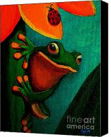 Frog Art Canvas Prints - Frog and ladybug Canvas Print by Nick Gustafson