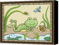 Crib Painting Canvas Prints - Frog and Snail Canvas Print by Cheryl Lubben