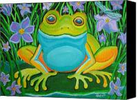 Frog Art Canvas Prints - Frog on a lily pad Canvas Print by Nick Gustafson
