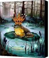 Swamp Canvas Prints - Frog Prince Canvas Print by Heather Calderon
