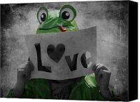 Love Hearts Canvas Prints - Froggy Love Canvas Print by Larysa Luciw