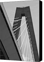 Ravenel Bridge Canvas Prints - From Below the Arthur Ravenel Jr. Bridge Canvas Print by Dustin K Ryan