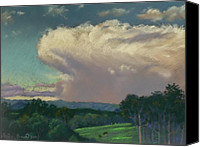 Rural Scenes Pastels Canvas Prints - From Lansdowne Evening Thunderhead Canvas Print by Louise Green
