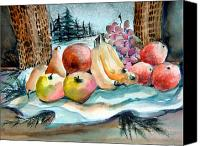 Fruits Drawings Canvas Prints - From My Window Canvas Print by Mindy Newman